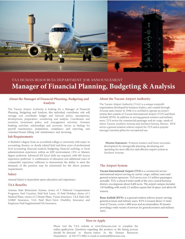 Manager of Financial Planning, Budgeting & Analysis / Fly Tucson