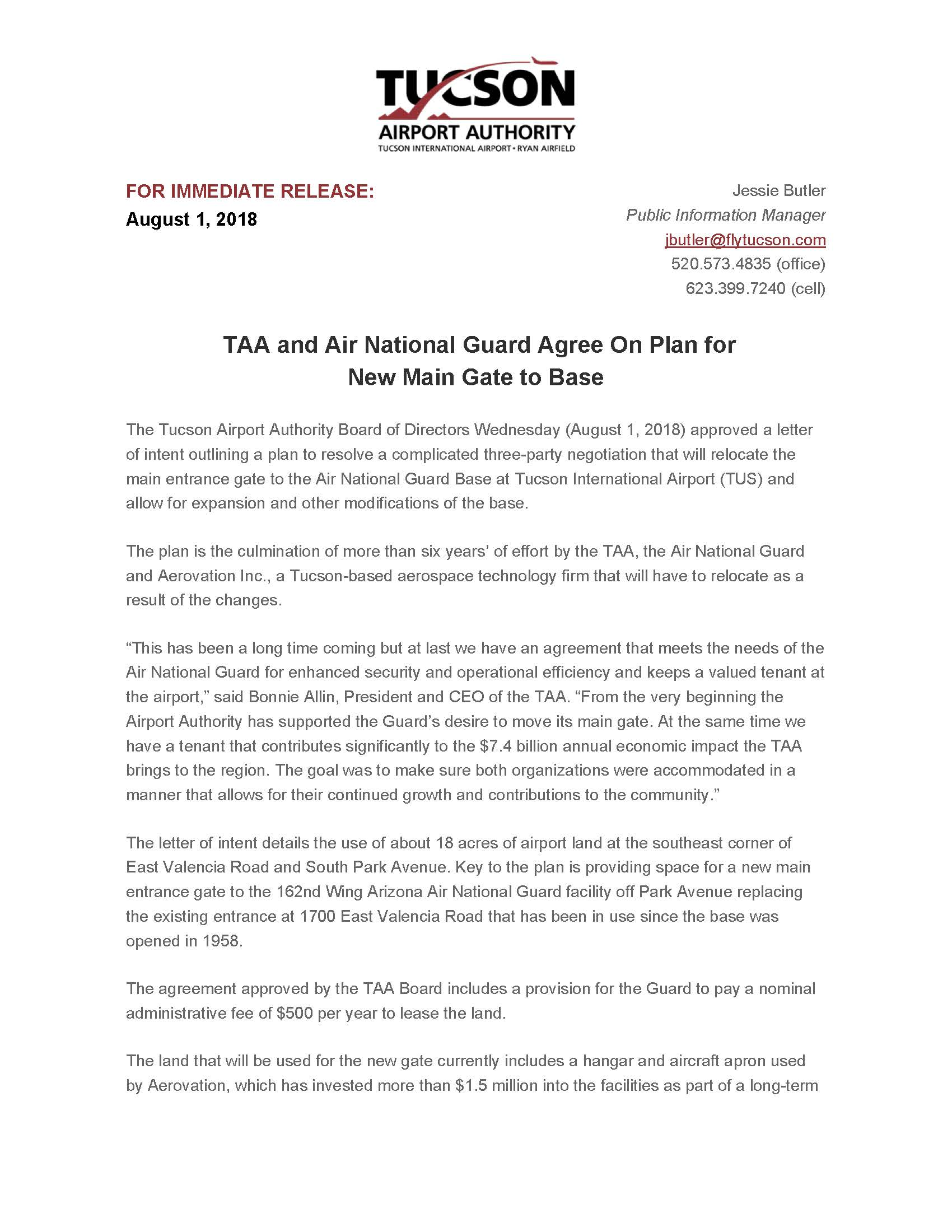 Taa And Air National Guard Agree On Plan For New Main Gate