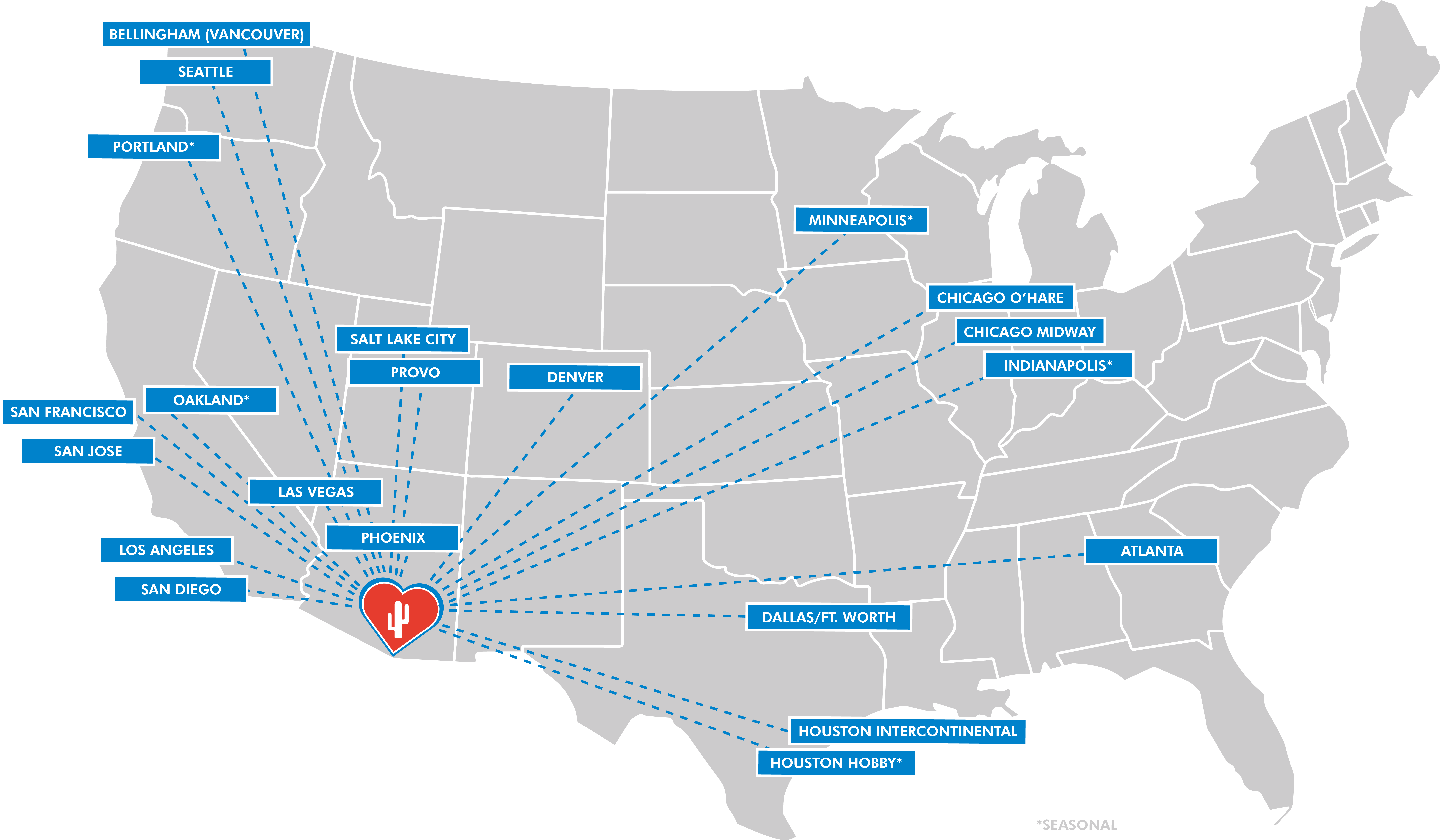 Nonstop Destinations to/from Tucson International Airport (TUS)
